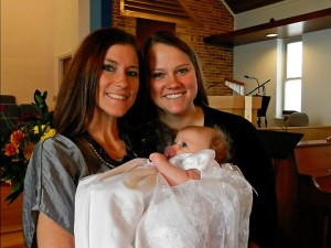K, Beanie, and I at Beanie's Baptism